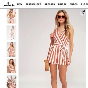 White and Red Stripped Lulus Romper